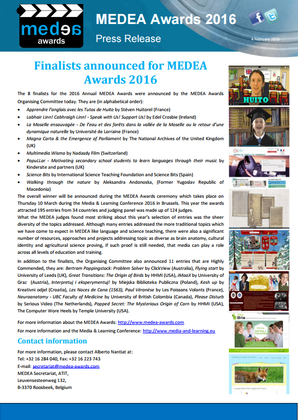 press release finalists MEDEA AWards 2016