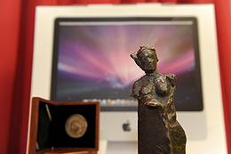 MEDEA Awards 2008 statuette with hardware and software prizes in the background