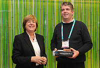 Dirk Terryn (right), after receiving his prizes from Maruja Gutierrez-Diaz from the European Commission (left)