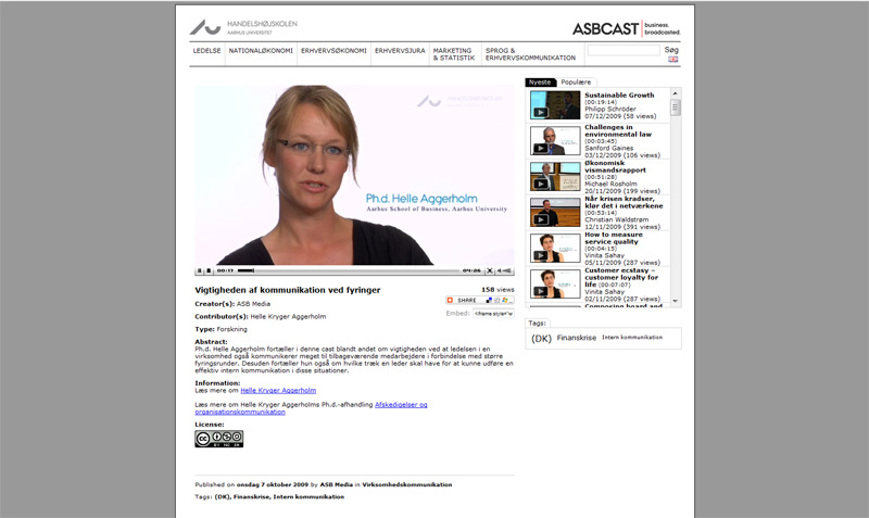 Screenshot of the ASBCAST Mini Lectures, MEDEA Awards 2009 Highly Commended