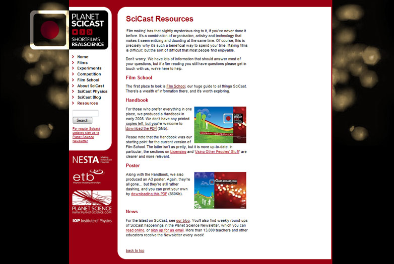 Screenshot of Planet SciCast, MEDEA Awards 2009 finalist
